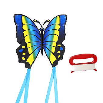 1 Set Cartoon Kite Outdoor Toys Funny Kite With Cord For Children Park Garden Games Supplies (30m Cord Style, Blue)