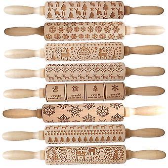 Wooden Carvings Pie Cookies Rolling Pin