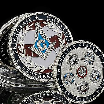 Us veteran military air force navy marine corps army coast guard masonic coin - silver