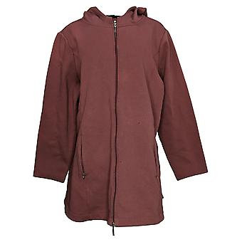 Denim & Co. Women's Plus Fleece Back Jersey Zip Front Jacket Brown A388880
