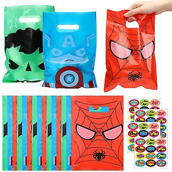 Супергерой Пластиковый мешок с наклейкой, лакомства конфеты мешки, партия украшения