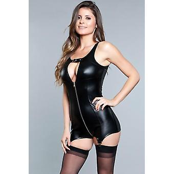 Larissa Wetlook Suspender Dress - Black