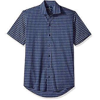 "BUTTONED DOWN Men's Slim Fit Stretch Spread-Collar Short-Sleeve Non-Iron Shirt, Zwart, 17"" Neck"