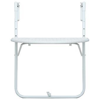 vidaXL Balkon Hangtafel Wit 60 x 64 x 83,5 cm Kunststof Rotan Optiek