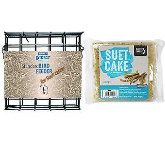 1 x Yksinkertaisesti suora tavallinen suet-kakkulohkon syöttölaite mealworm-maustetulla suet-kakulla luonnonvarainen lintujen rehu
