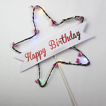 Happy Birthday Cake Topper Star Glitter Light Red Blue Led Luminous Card Top