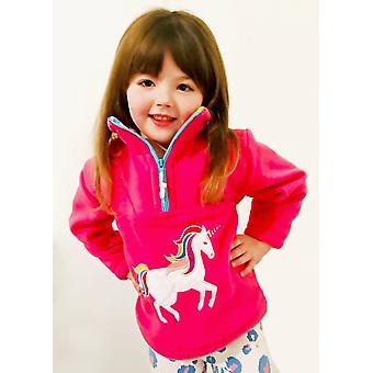 Kids' Unicorn Fuschia Fleece Sweater