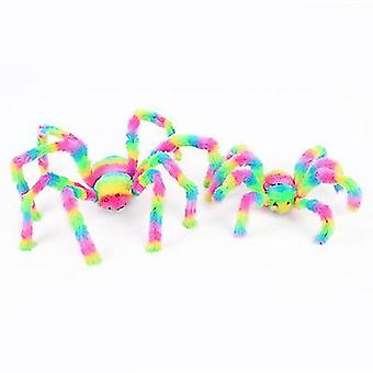 2pcs 50cm Colorful Spider Toy Stuffed Animal Plush Toy For Halloween Decorations Props(Style1)