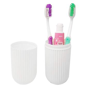 Portable Plastic Toothbrush Toothpaste Cup Case Box Holder Container For Travel(White)