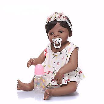 57Cm fekete & rózsaszín teljes test szilikon lány újjászületett babák baba játékok hercegnő babák baba paróka haj születésnapi ajándék karácsony ajándék