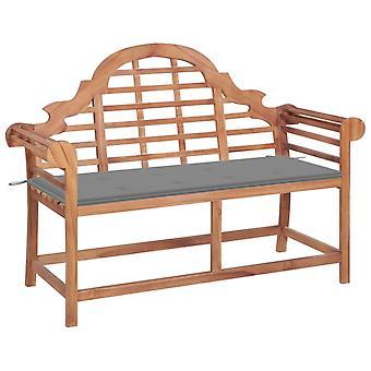 vidaXL garden bench with grey pad 120 cm solid wood teak