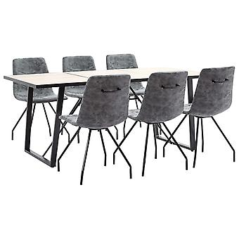 vidaXL 7 pcs. Dining Group Black Faux Leather