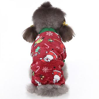 Mimigo Dog Pajamas Winter Clothes - Christmas Warm Dog Sweater Soft Cold Days Outfits With Elk Design, Pet Jumpsuits Sweaters For Small Medium Dogs/pu