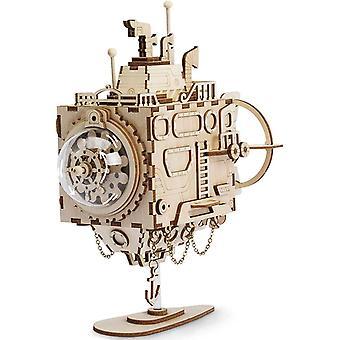 3D Holzpuzzle mit Getriebe Hand-Handwerk Musikbox-Mechanische Modellbau Kits Spielzeug für Kinder
