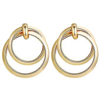 Oorbellen dubbele cirkels gouden metaallegering sieraden voor festival