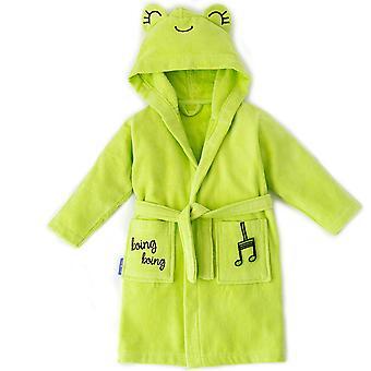 Milk&Moo Cacha Frog Toddler Robe, Lasten kylpytakki, 100% Puuvilla Lasten kylpytakki, Erittäin pehmeä ja imukykyinen hupullinen kylpytakki tytöille ja pojille, vihreä väri, sopii 2-4 vuotta