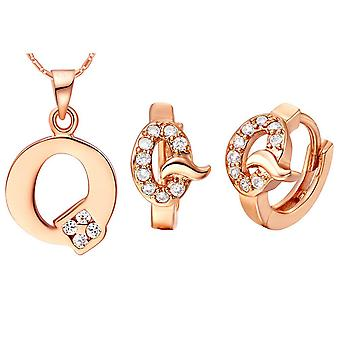 (Q)  Alphabet Rhinestone Womens 26 Initial Letter Huggie Earrings Necklace Jewelry Set Rose Gold