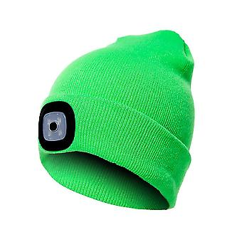 Beanie Hat With Light Unisex Usb Rechargeable Beanie Cap With Light Headlamp Beanie(Fluorescent