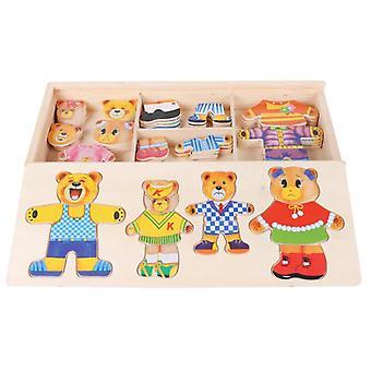 דוב קטן להחליף בגדים ילדים עץ פאזל ההלבשה משחק בייבי עץ פאזל צעצועים חינם