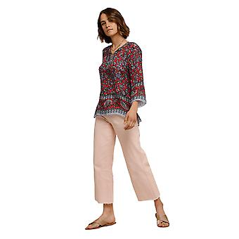 Shuuk Slightly Sheer Printed Silk Blouse Rounded Neckline with Pullover Front