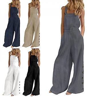 Women Long Pants Lady Summer Pocket Trousers Solid Color Side Buckle Casual