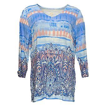 Belle by Kim Gravel Women's Top Reg Boho Paisley Knit V-Neck Azul A378628