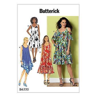 Butterick ompelu kuvio 6350 Misses Naisten Kylmä olkapää Mekko 16-26 Leikkaamaton