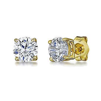 HS Johnson HSJ-GE1107 Women's 9ct Gold CZ Stud Earrings