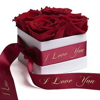 Rose Box Wei Eternal Rosor Mörkröd Jag älskar dig Gåva
