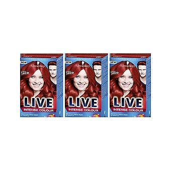 Schwarzkopf LIVE intense 035 ekte rød Pro permanent hår farge Dye 3 for 2 Pack