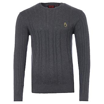 Luke 1977 Morden Cable Knit Sweater - Charcoal
