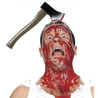 Bloody axe in head diadem halloween costume joke blood