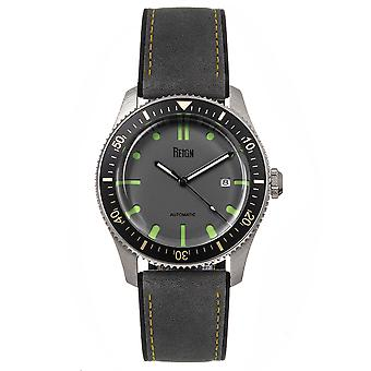 Reign Elijah Automatic Rubber Inlaid Leather-Band Watch W/Date - Grey