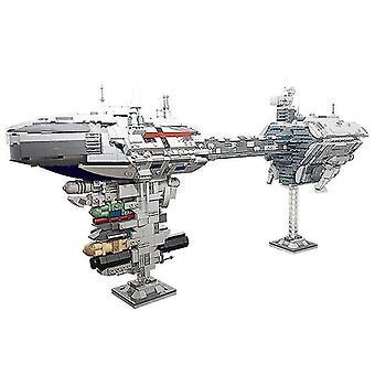 Wooden blocks space ship nebulon b escort frigate building blocks diy bricks model kids toys home decoration brain
