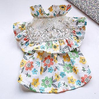 Dog apparel lace floral dog dress summer pet clothes cat skirt yorkshire pomeranian shih tzu maltese schnauzer