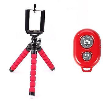 Flexibel bläckfisk mobiltelefonhållare och stativ med Bluetooth fjärrkontroll (Röd)