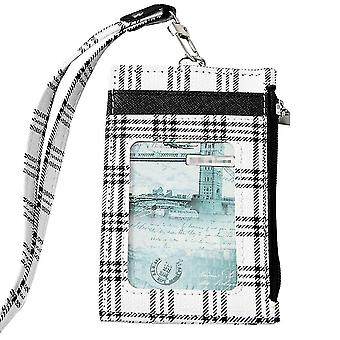 (White)Badge Holder Grid Pu Leather 4 Slots With Zip Pocket - 4 Colors Option