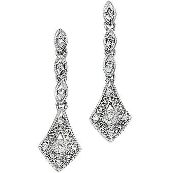 9Ct White Gold And Diamond Earring