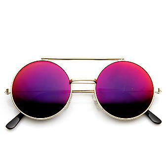 Limited Edition Red Mirror Flip-Up Lens Round Circle Django Sunglasses