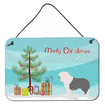 Old English Sheepdog Christmas Wall or Door Hanging Prints