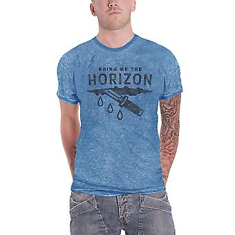 Bring Me The Horizon T Shirt Wound Band Logo Official Mens New Blue Burnout