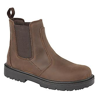 Grafters Mens Brown Waxy Leather Safety Dealer Boots