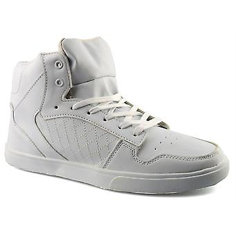 Mens New Hi Top Lace Up White Skate Ankle Boots Trainers Shoes
