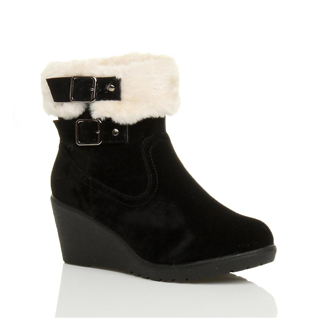 Ajvani womens mid low wedge heel fur lined buckle collar zip ankle shoes boots booties iqPeU