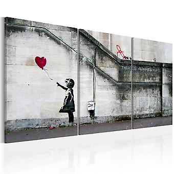 Schilderij - Er is altijd hoop (Banksy) - drieluik