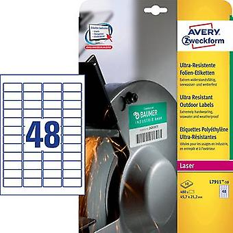 Avery-Zweckform L7911-10 Labels 45.7 x 21.1 mm PE film White 480 pc(s) Permanent All-purpose labels