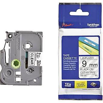 Etichettatura nastro Brother TZe, colore nastro TZe-121 TZ: Font trasparente colore: Nero 9 mm 8 m