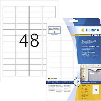 Herma 9531 Labels 45.7 x 21.2 mm PE film White 480 pc(s) Permanent All-purpose labels, Weatherproof labels