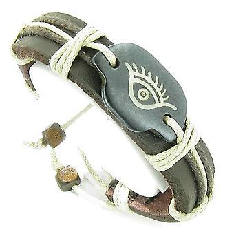 Amulett äkta läder justerbart armband med alla seende skydd öga Symbol Lucky Charm