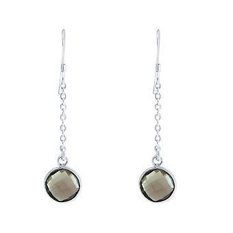 GEMSHINE dame øreringe i 925 sølv yoga øreringe røg kvarts grå etui